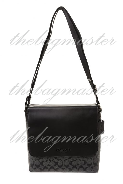 Coach Charles Small Messenger Bag in Signature Canvas - Black