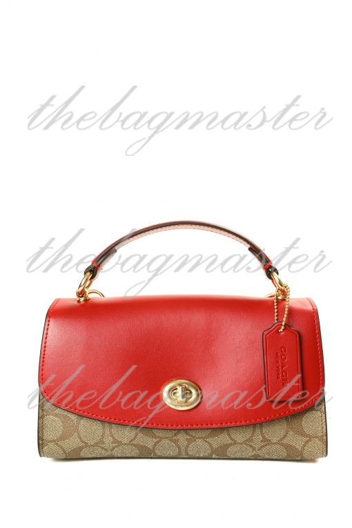 Coach Turnlock Signature Coated Canvas & Leather Clutch - Red/Brown