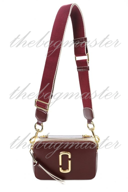 Marc Jacobs Saffiano Leather Sure Shot Camera Bag - Maroon/White