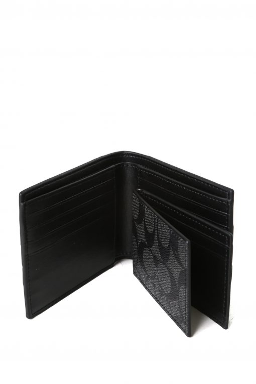 Coach Mens 3 In 1 Signature Canvas Varsity Stripe Leather Bifold Id Wallet - Black/Blue/White