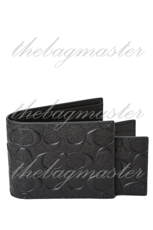 Coach Mens 3 In 1 Signature Embossed Leather Bifold Id Wallet - Black