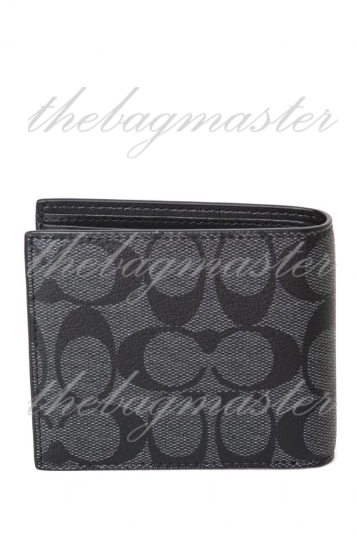 Coach Mens 3 In 1 Signature Canvas Leather Bifold Id Wallet - Black with Gold-tone Logo