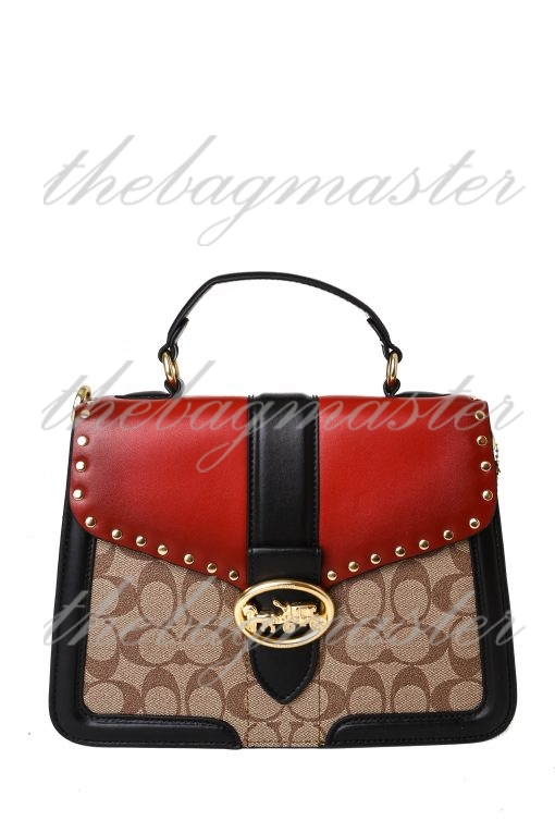 Coach Large Georgie Top Handle In Colorblock Signature Canvas With Rivets