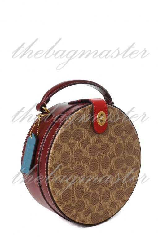 Coach Lunar New Year Circle Bag in Signature Canvas - Brown/Red