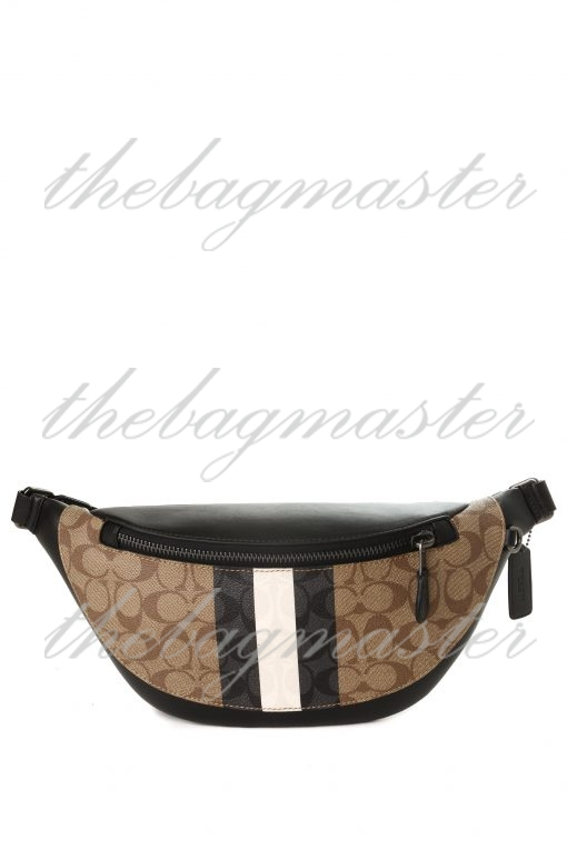 Coach Warren Belt Bag Fanny Pack in Signature Canvas with Varsity Stripe - Brown