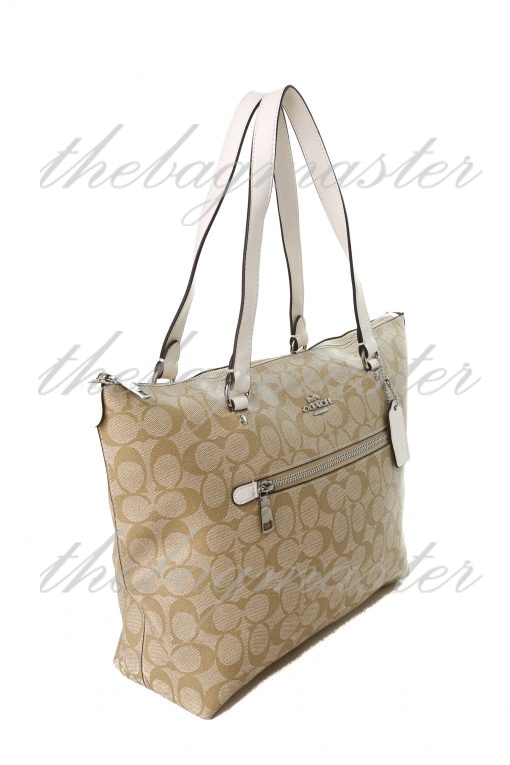 Coach Gallery Tote in Signature Canvas - White/Brown