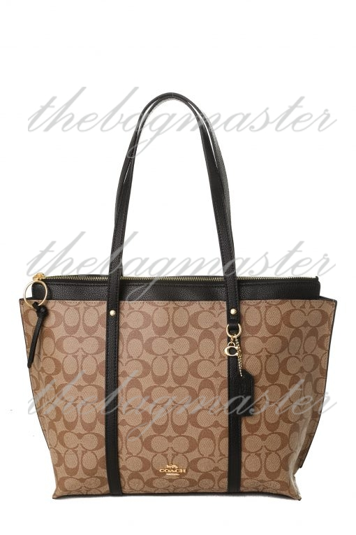 Coach May Tote in Signature Canvas - Brown/Black