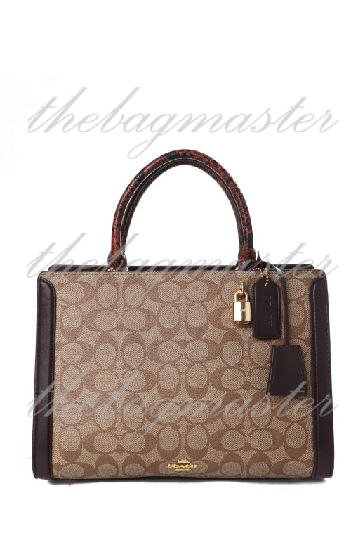 Coach Signature Zoe Carryall with Patent Leather Trim - Brown