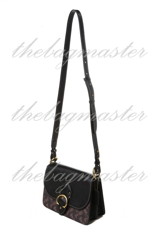 Coach Beat Shoulder Bag 18 in Colorblock With Horse and Carriage Print - Dark Brown/Black