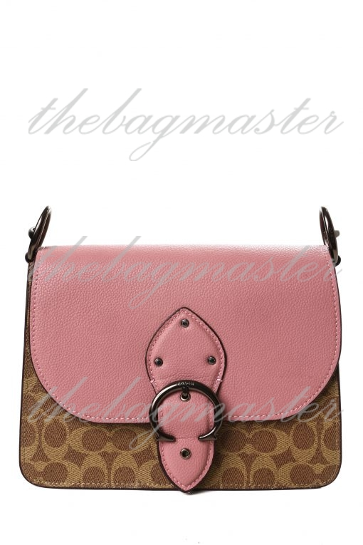 Coach Beat Shoulder Bag 18 in Colorblock With Horse and Carriage Print - Pink/Brown