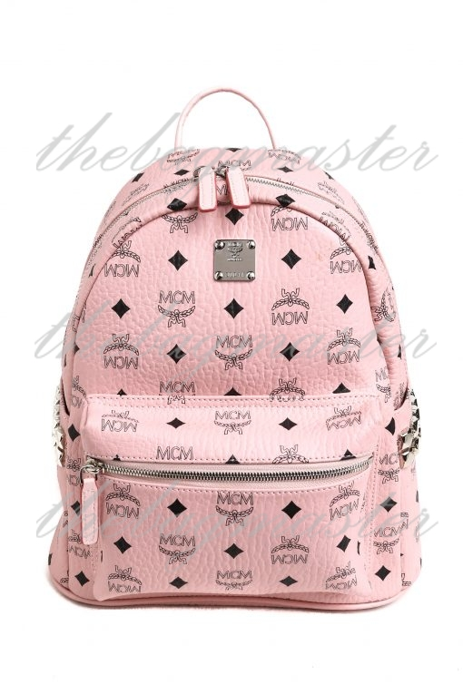 MCM Stark Side Studs Small Backpack in Visetos - Powder Pink