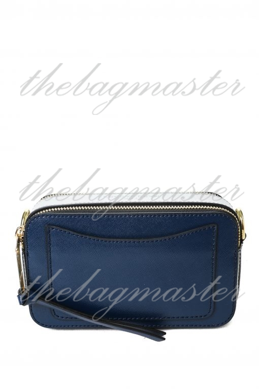 Marc Jacobs Saffiano Leather Snapshot Camera Bag - Blue/White