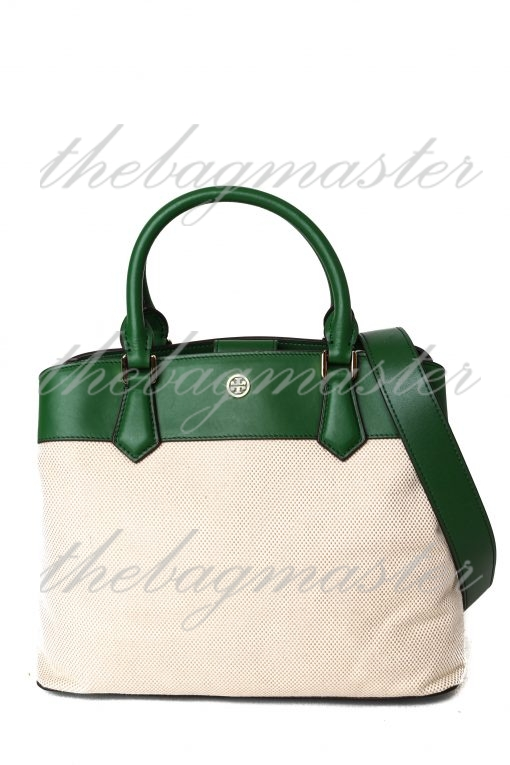 Tory Burch Robinson Canvas & Leather Triple Compartment Bag - Green