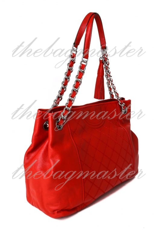 Tory Burch Fleming Distressed Leather Tote - Red