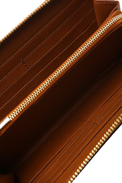 Coach Signature Leather Accordion Zip Around Long Wallet - Brown