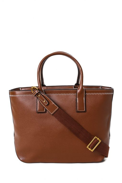 Charles & Keith Simple Stitching Tote Bag - Brown
