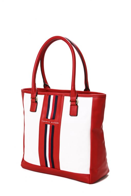 Tommy Hilfiger Front Tape Tote Bag - Red/Multi