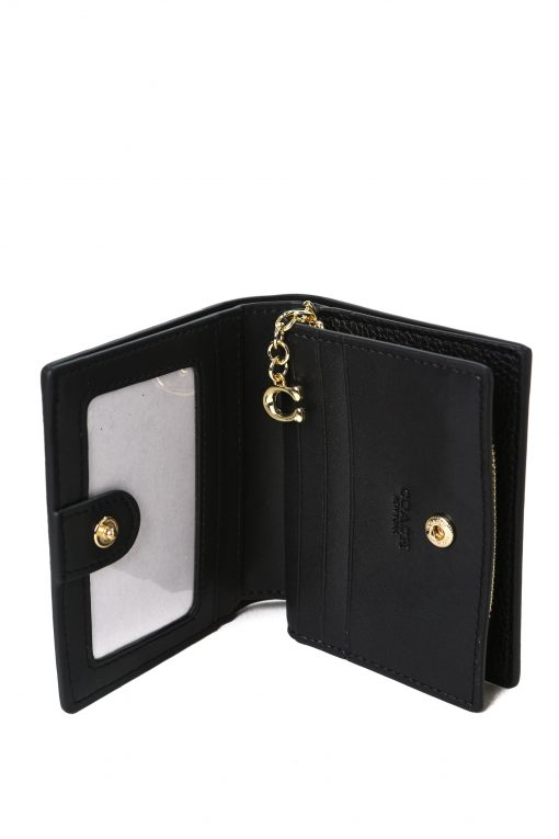 Coach Snap Wallet In Pebble Leather - Black
