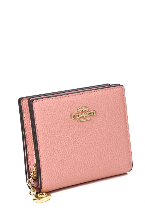 Coach Snap Wallet In Pebble Leather - Pink
