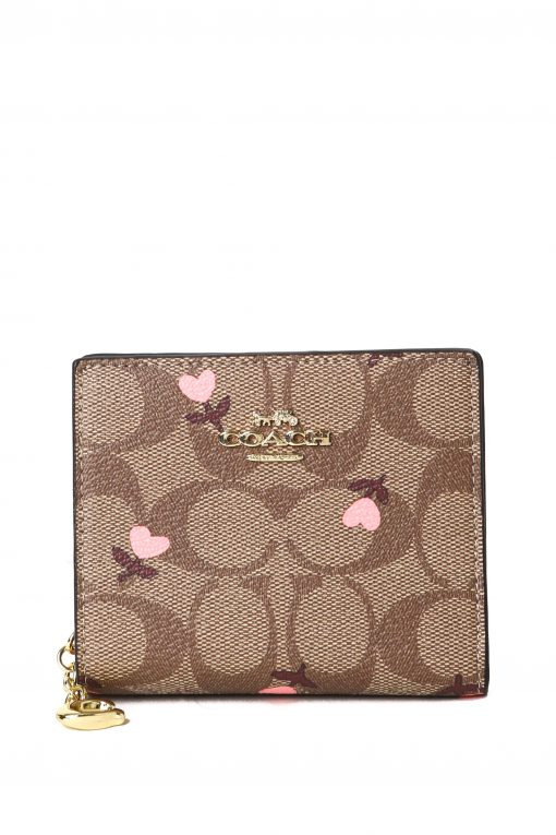 Coach Snap Wallet In Signature Canvas with Heart Floral Print