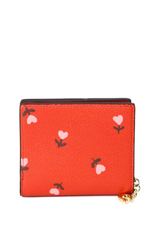 Coach Snap Wallet In Pebble Leather in Heart Floral Print