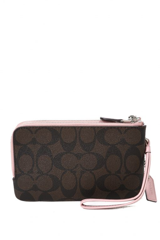 Coach Double Wristlet In Signature Canvas - Dark Brown/Pink