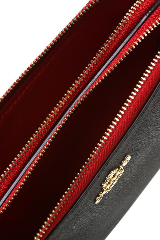 Coach Double Wristlet In Signature Canvas - Dark Brown/Red