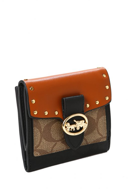 Coach Georgie Small Wallet in Colorblock Signature Canvas with Rivets - Brown/Tan/Multi