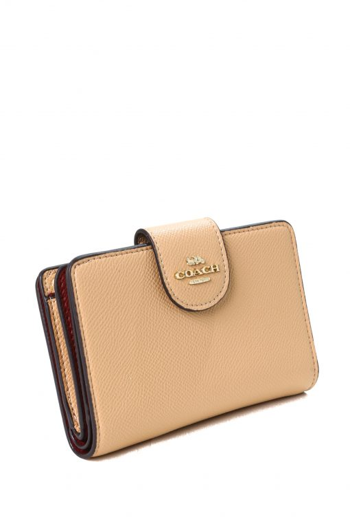 Coach Medium Corner Zip Wallet In Pebble Leather with Logo - Taupe