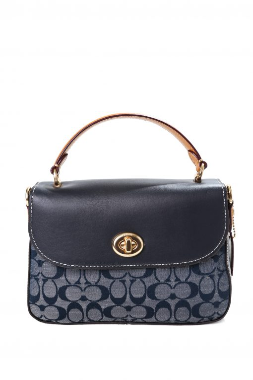 Coach Marlie Top Handle Satchel in Signature Chambray - Navy
