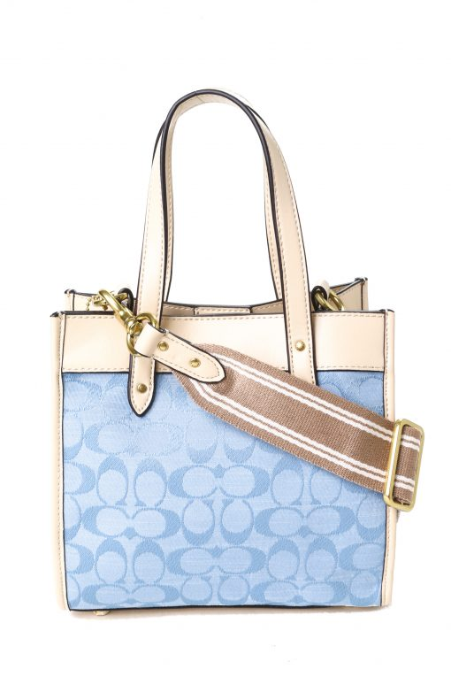 Coach Field Tote 22 in Signature Chambray - Chalk/Washed Denim