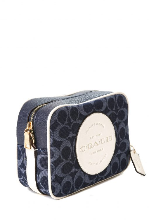 Coach Dempsey Camera Bag in Signature Jacquard with Patch - Navy