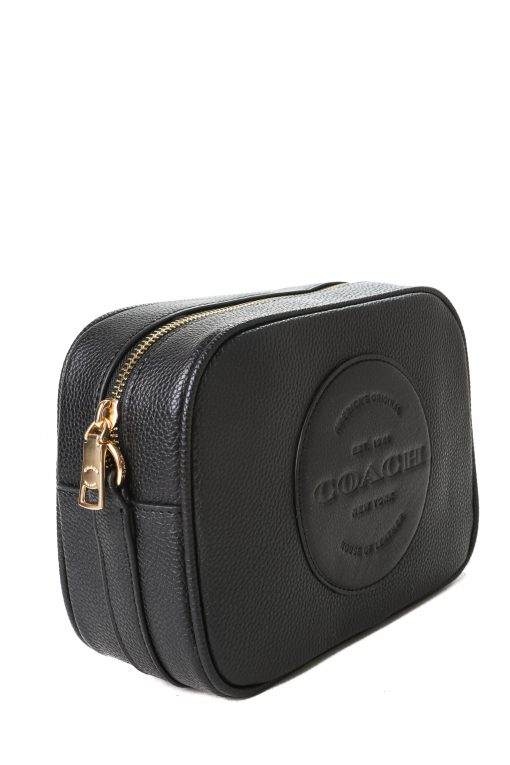 Coach Dempsey Camera Bag in Pebble Leather with Patch - Black