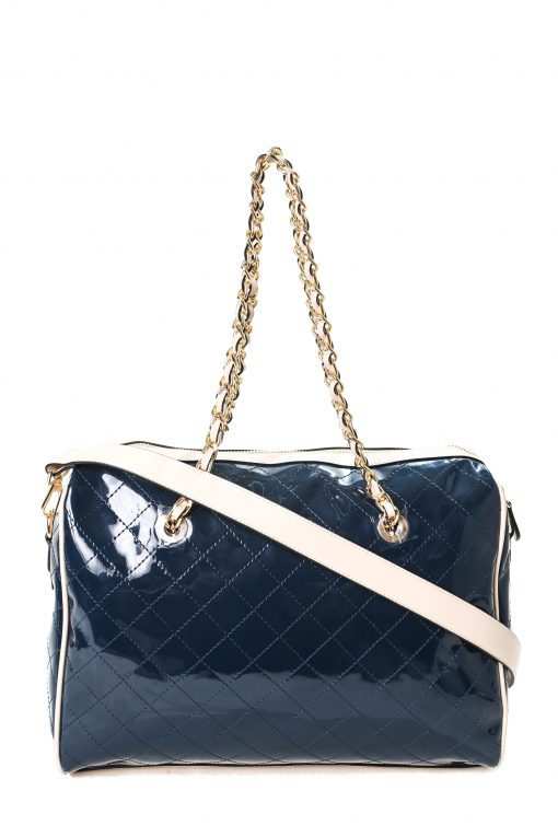 Guess Women's Quilted Leather Shoulder Bag - Glossy Navy
