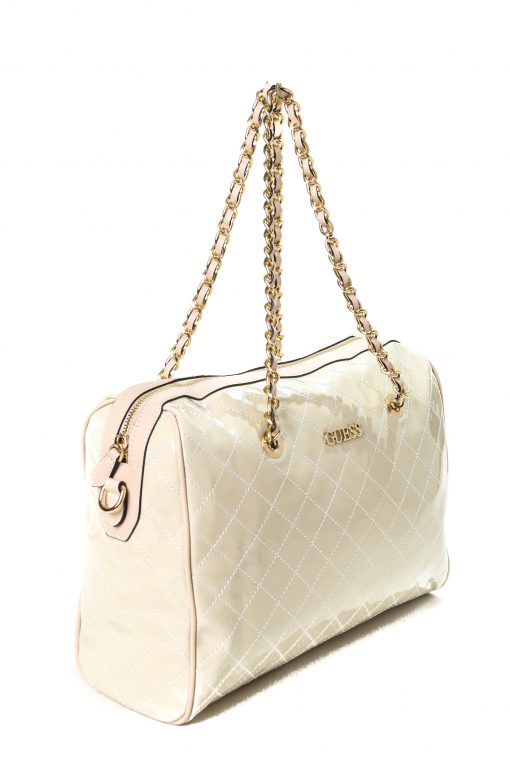 Guess Women's Quilted Leather Shoulder Bag - Glossy White