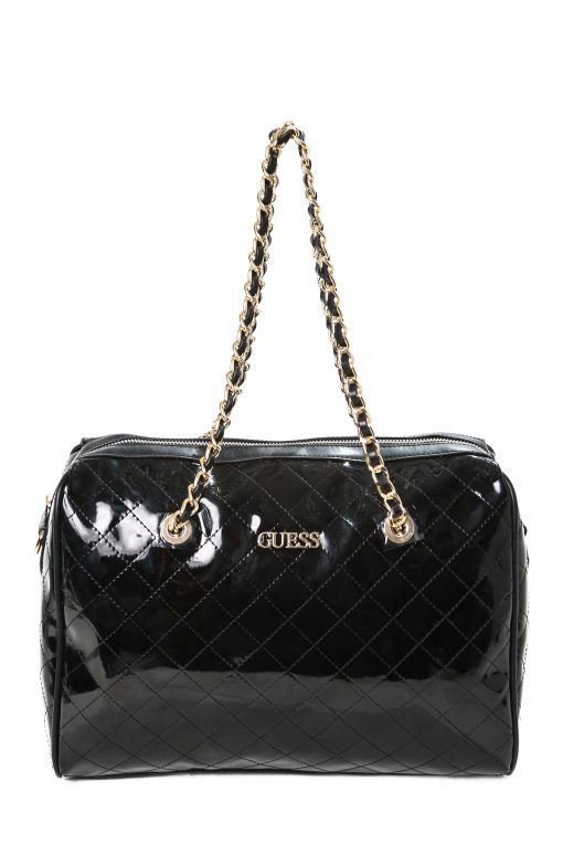 Guess Women's Quilted Leather Shoulder Bag - Glossy Black